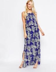 Платье макси с накладкой и принтом пальмы ASOS - Синий Parisian