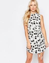 Платье-рубашка без рукавов с принтом Parisian - Белый