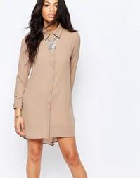Платье-рубашка с длинными рукавами Glamorous - Песок