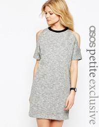 Платье-свитшот с открытыми плечами и контрастной отделкой ASOS PETITE