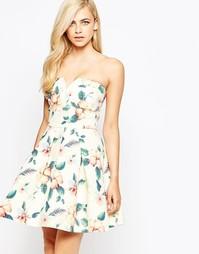 Платье-бандо с тропическим цветочным принтом AX Paris - Мульти