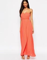 Платье макси со складками спереди AX Paris - Коралловый