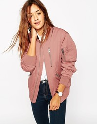 Куртка-пилот с молниями ASOS - Розовый