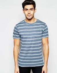 Трикотажная футболка в жаккардовую полоску D-Struct - Темно-синий