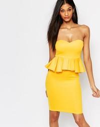 Облегающее платье с баской AX Paris - Желтый