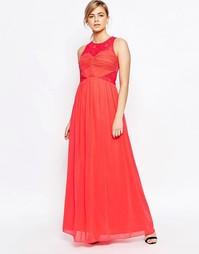 Платье макси с кружевной отделкой топа Little Mistress - Оранжевый