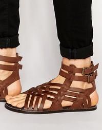 Коричневые кожаные гладиаторские сандалии ASOS - Коричневый