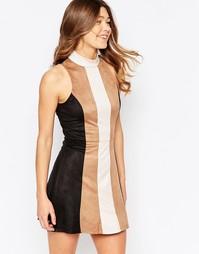 Цельнокройное платье в стиле пэтчворк из искусственной замши Girl In M