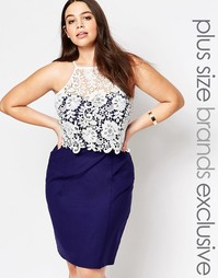 Платье-футляр с ажурным лифом Paper Dolls Plus - Темно-синий
