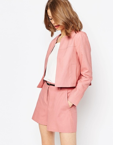 Укороченный льняной блейзер ASOS - Пудрово-розовый