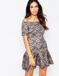 Кружевное платье с открытыми плечами Hedonia Tulisa - Серый