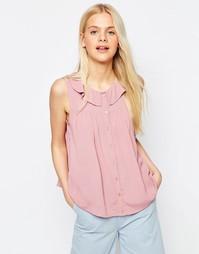 Блузка без рукавов с рюшами у горловины ASOS - Blush