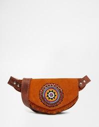 Замшевая сумка-пояс с отделкой бисером Hiptipico - Рыжий