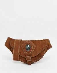 Кожаная сумка-кошелек на пояс с полудрагоценным нефритом Hiptipico