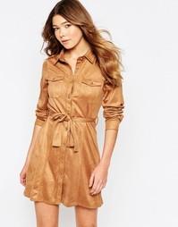 Платье-рубашка из искусственной замши с застежкой на пуговицы спереди Girl In Mind