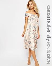 Приталенное платье миди для беременных с открытыми плечами и винтажным Asos Maternity
