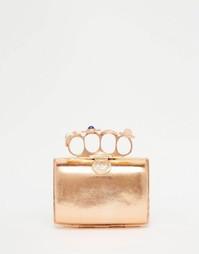 Эксклюзивный клатч цвета розового золота с кольцами From St Xavier