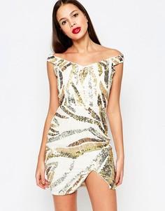 Платье с эффектом металлик Virgos Lounge Karoline - Белый