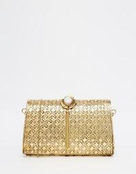 Золотой клатч с цветочным тиснением и камнем с кисточкой From St Xavie