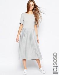 Платье миди с плиссировкой ASOS TALL - Серый