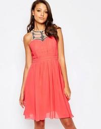 Короткое приталенное платье с отделкой горловины Little Mistress Tall