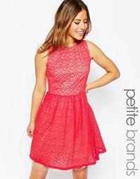 Короткое приталенное платье с сетчатым подолом Little Mistress Petite