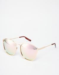 Солнцезащитные очки в круглой металлической оправе с зеркальными стекл Quay Australia