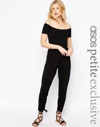 Комбинезон с открытыми плечами и широкими брюками ASOS PETITE - Черный