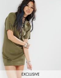 Винтажное рваное платье-футболка Milk It - Хаки
