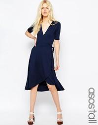 Чайное платье миди с запахом спереди ASOS TALL - Темно-синий