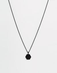 Черное матовое ожерелье с медальоном-шестигранником Chained & Able