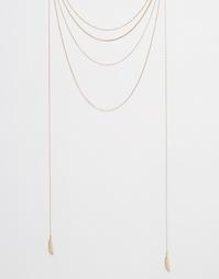 Многослойное ожерелье из цепочек с перьями Orelia - Бледно-золотистый