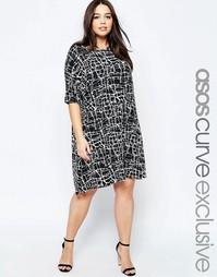 Платье-футболка с принтом ASOS CURVE - Мульти