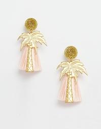 Серьги с кисточками-пальмами Suzywan - Розовый