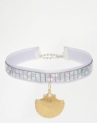 Ожерелье-чокер с ракушкой Suzywan - Фиолетовый