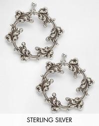 Посеребренные серьги-кольца Regal Rose DARK WREATH - Серебряный