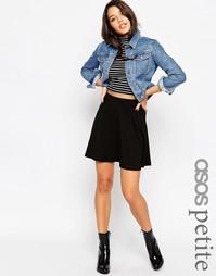 Короткая расклешенная юбка с карманами ASOS PETITE - Черный
