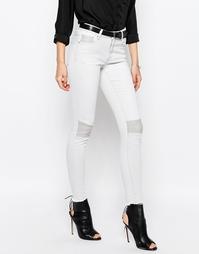 Зауженные байкерские джинсы Vila - Светло-серый джинс