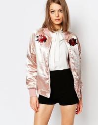 Атласная куртка‑пилот с нашивками в виде цветков мака Sister Jane