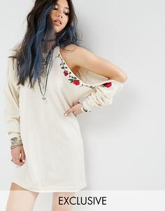 Платье с открытым плечом и вышивкой Milk It Vintage - Кремовый