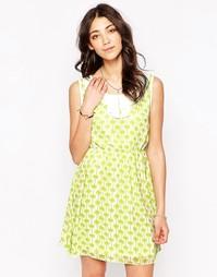 Платье с воротником и пальмовым принтом Iska - Зеленый