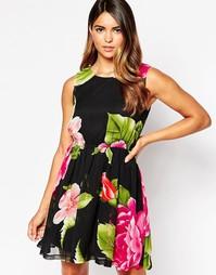 Короткое приталенное платье с тропическим принтом AX Paris - Черный
