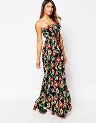 Платье-бандо макси с тропическим принтом AX Paris - Черный