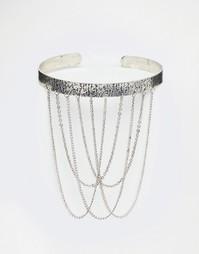 Серебристый металлический браслет-манжета ASOS - Полированный родий