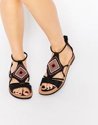 Кожаные сандалии с отделкой бусинами Bronx - Черная кожа