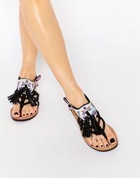 Кожаные сандалии с кисточками Bronx - Черная кожа