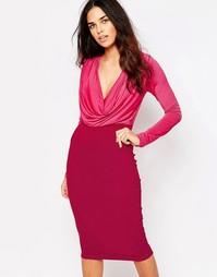 Облегающее платье со свободным воротом Hedonia Amara - Розовый