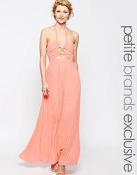 Шифоновое платье макси с вырезом True Decadence Petite - Розовый