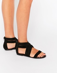 Замшевые сандалии с перекрещивающимися ремешками Boohoo - Черный