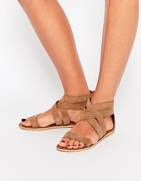 Замшевые сандалии с перекрещивающимися ремешками Boohoo - Рыжий